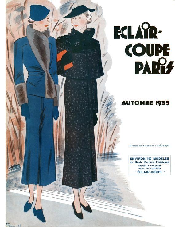 Photo of 1935 Herbstausgabe Französisches Musterbuch Eclair Coupe Paris
