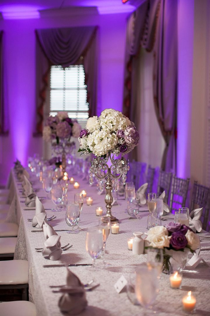 Elegant Lavender And White Wedding Centerpiece