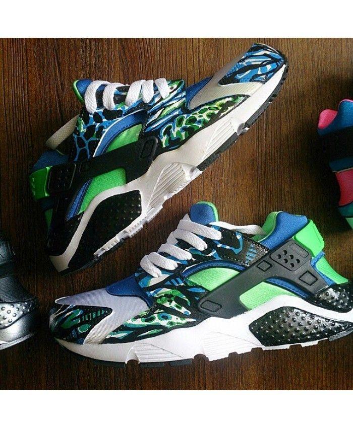 Deals Nike Air Huarache Mens Custom Black Blue Green Shoes Elegant fashion,  different.