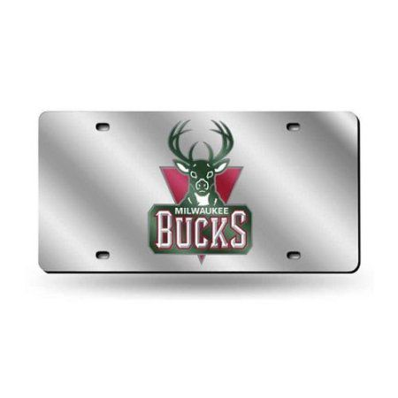 Milwaukee Bucks NBA Laser Cut License Plate Tag, Silver
