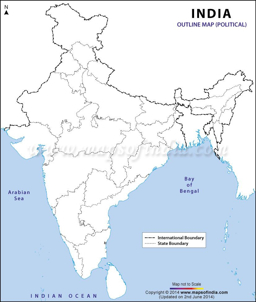 India Political Map In A Size Geography For Kids Pinterest - Us physical map blank just pacific ocean colored