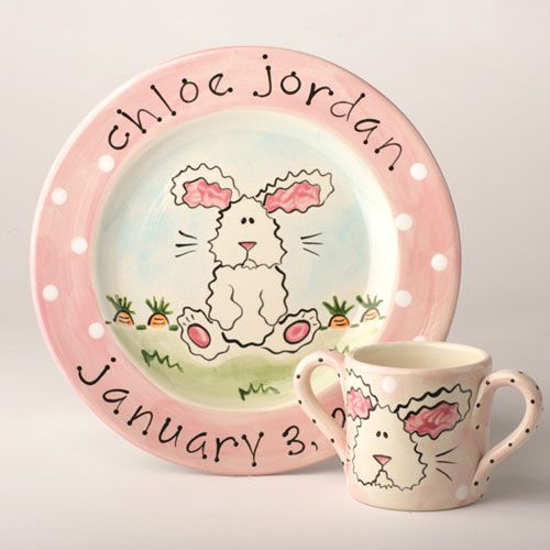 Pin by the palm gifts on tpg kid friendly products pinterest sweet bunny personalized baby plate birth announcement plate from the palm gifts negle Images