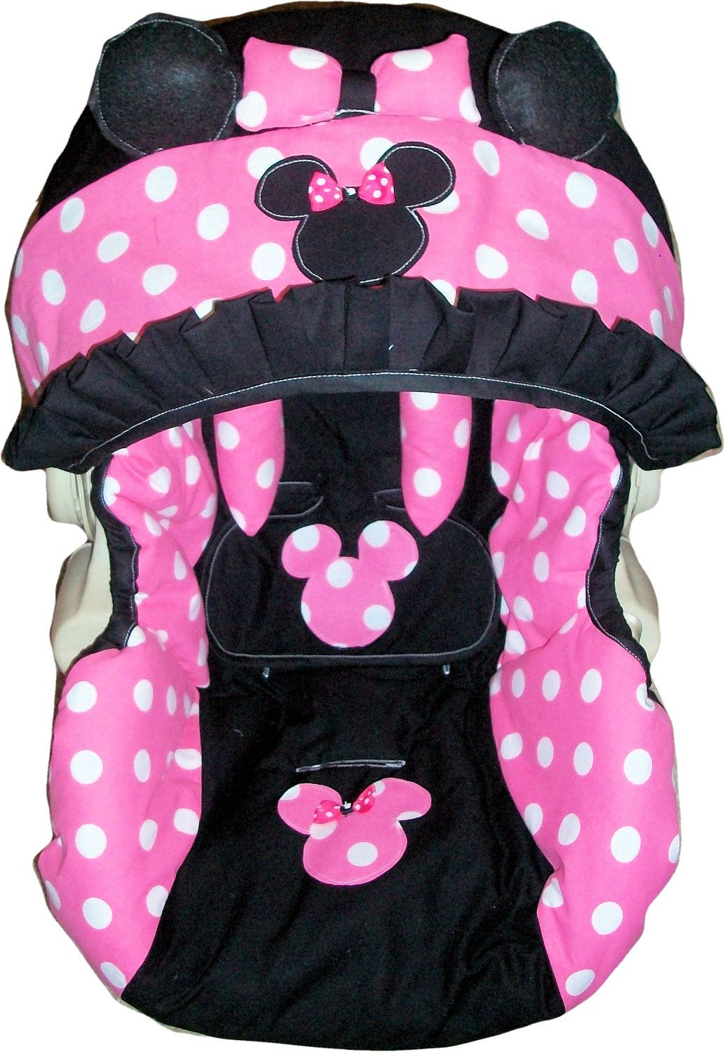 spot dot polka cotton fleece baby pram//buggy//car seat harness strap cover pads