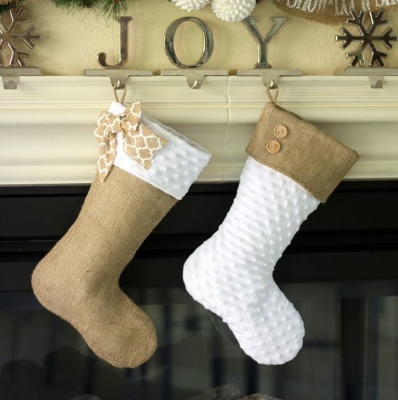 Burlap with Triple Wooded Button Cuff Classic Burlap Stocking