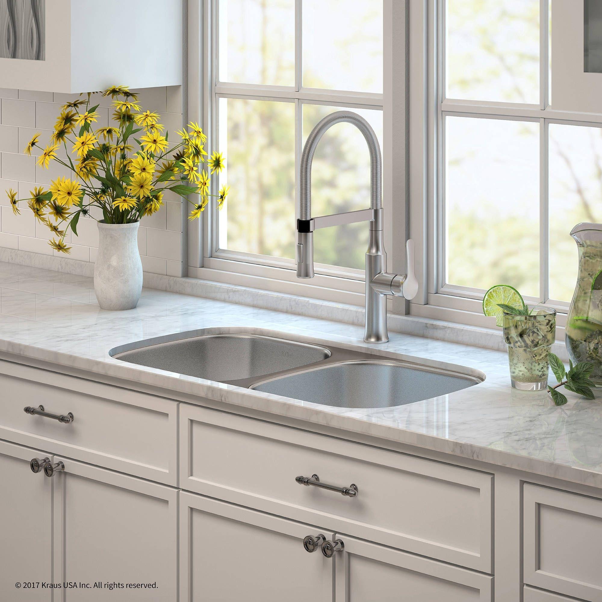 Kraus 32 Kitchen Sink & Nola Commercial Faucet With Soap Dispenser Gorgeous Undermount Kitchen Sink Inspiration Design