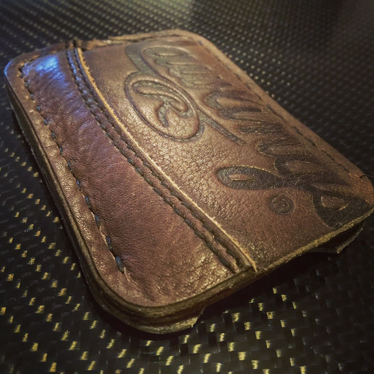 Recycled baseball glove wallet - Minimalist Leather 2 Pocket Wallet Made From Rawlings Baseball Mitt