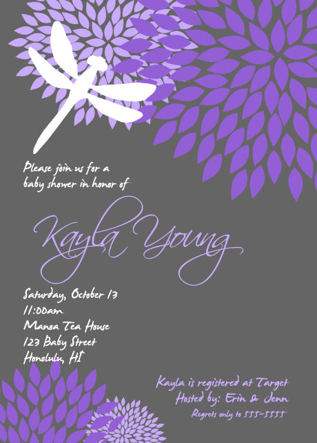Dragonfly flower baby shower purple black gray bridal shower dragonfly flower baby shower purple black gray bridal shower birthday retirement invitation printable filmwisefo Images