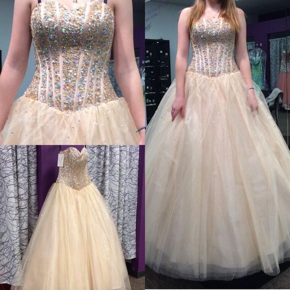 ONE OF A KIND GOLD PROM DRESS Boutique | Gold prom dresses, Ball ...