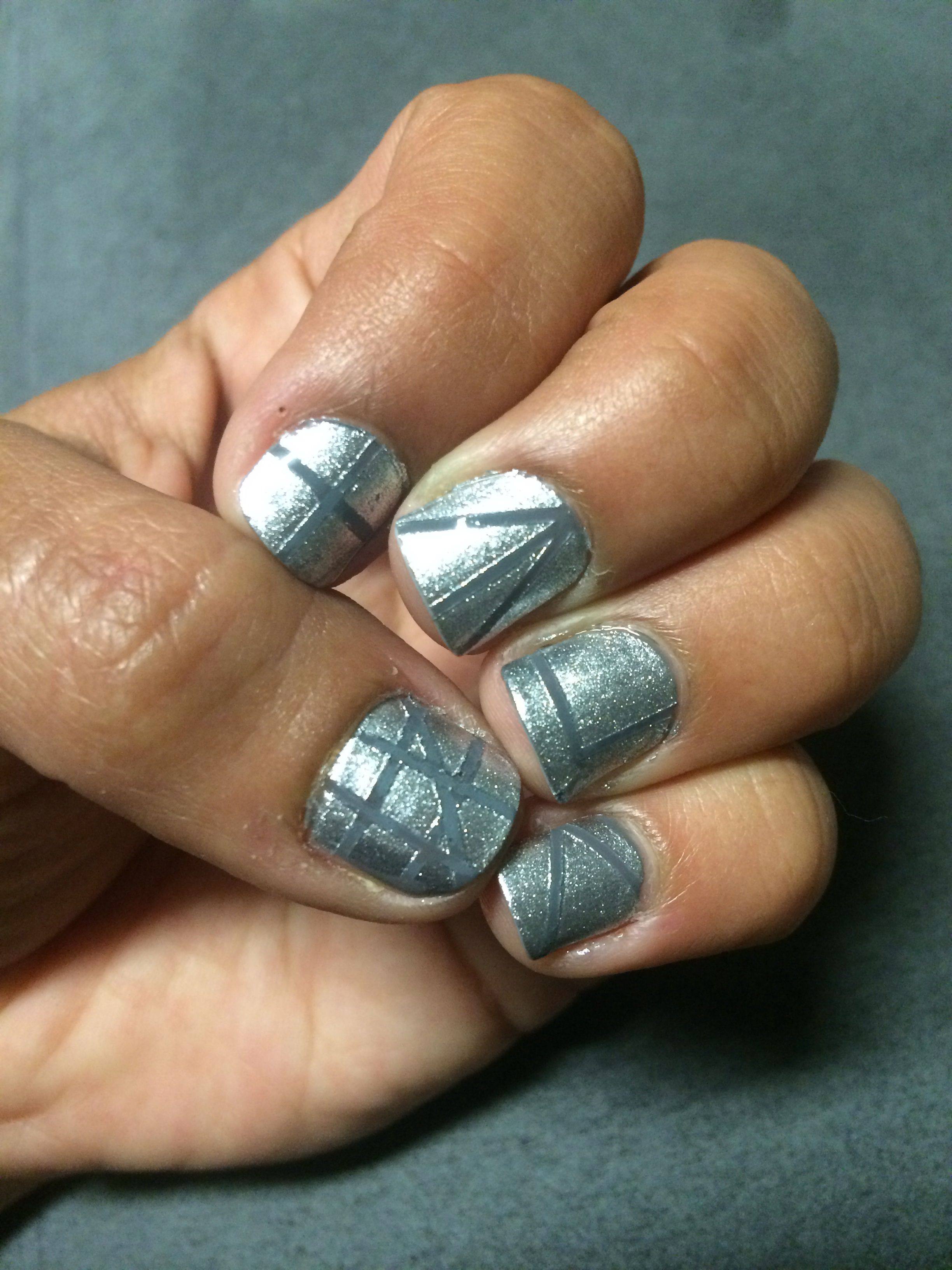 Nail Tape Nail Art Silver Nails Grey Nails Nails