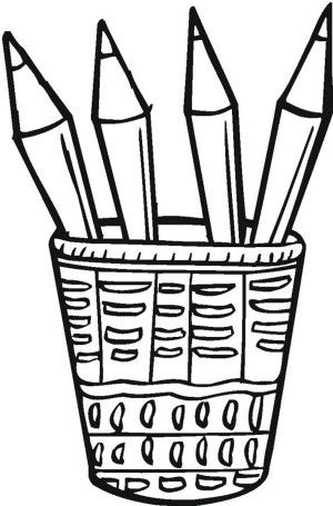 Four Colored Pencils In The Bucket Coloring Page With Images