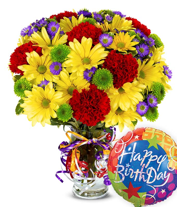 Best Wishes Bouquet with Birthday Balloon at From You