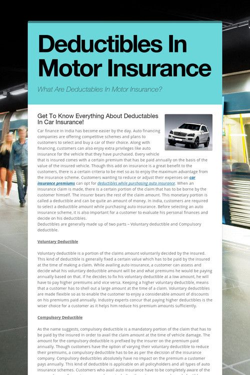 Deductibles In Motor Insurance Health Insurance Cost Car
