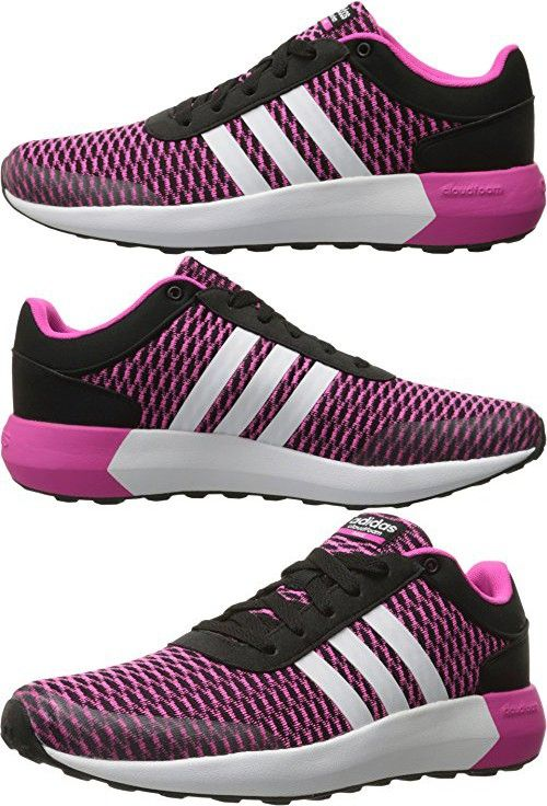 Adidas NEO Women\u0027s Cloudfoam Race W Running Shoe, Black/White/Shock Pink S16