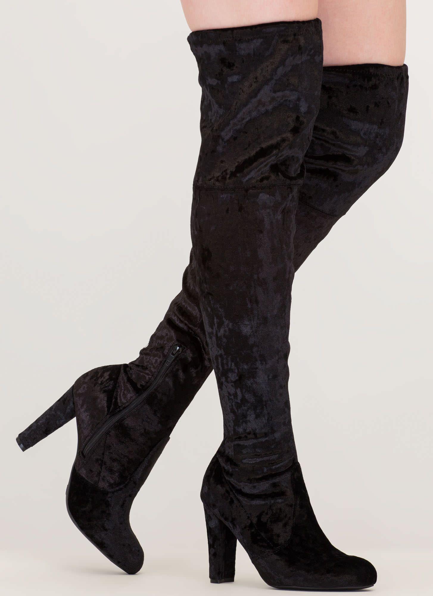 Black Velvet Thigh High Boots, Block
