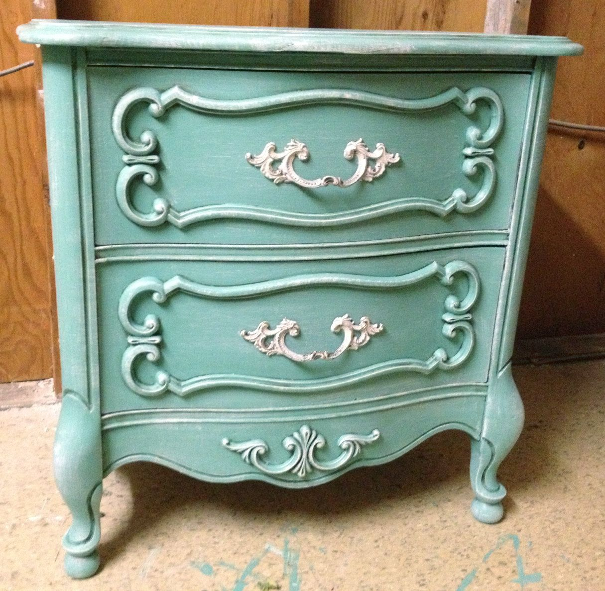 Large French Provincial Aqua Blue Nightstand Boutique Displays Boudoir Tables Double Drawer Dres With Images Diy Furniture Bedroom Boutique Display Furniture Rehab