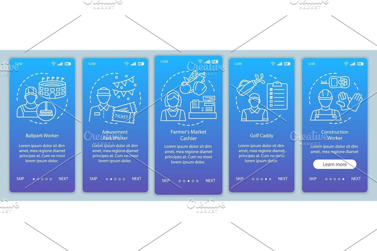 Summer parttime jobs blue app pages in 2020 Onboarding