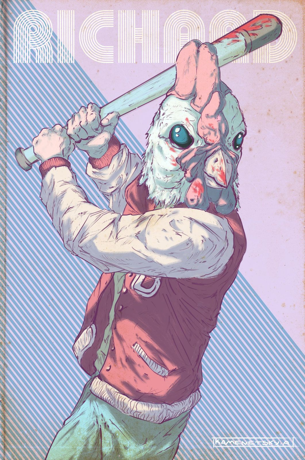 Hotline Miami. Richard, Andrew Kamenetsky on ArtStation at https://www.artstation.com/artwork/hotline-miami-richard