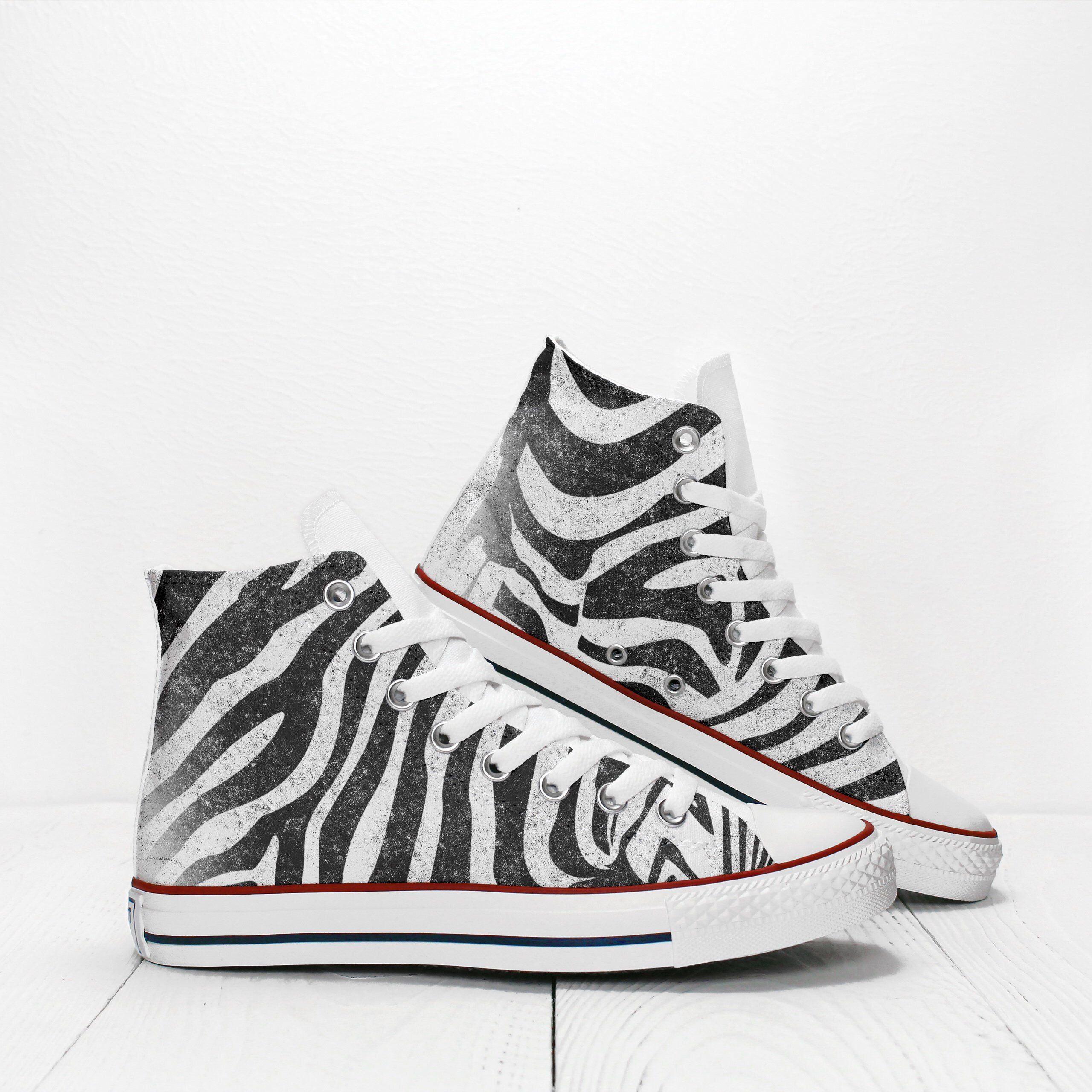46891b9198bb Zebra Stripes Animal Print Custom Sneakers based on PROSPECT AVENUE White High  Top shoes by PerfectPairSneakers