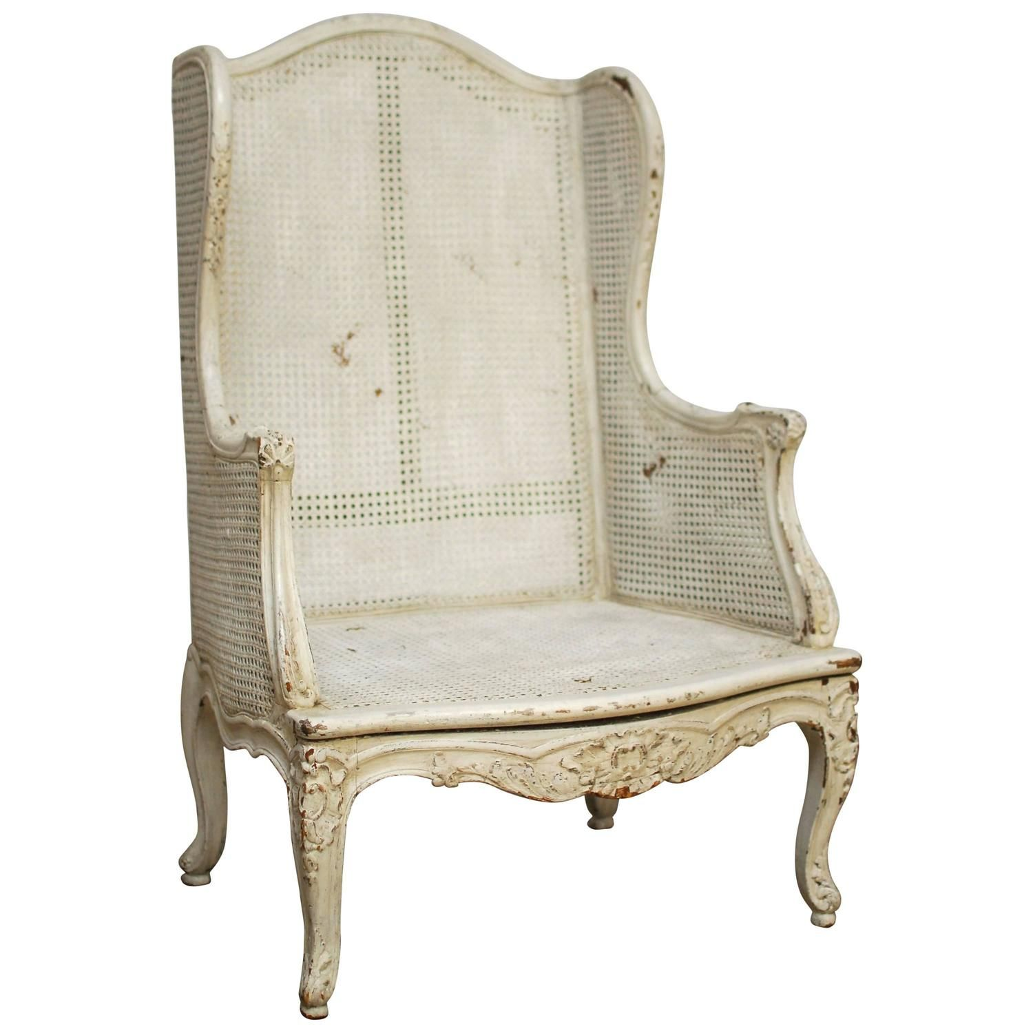 Louis XV Cane Wingback Bergere Chair 1 Muebles de madera