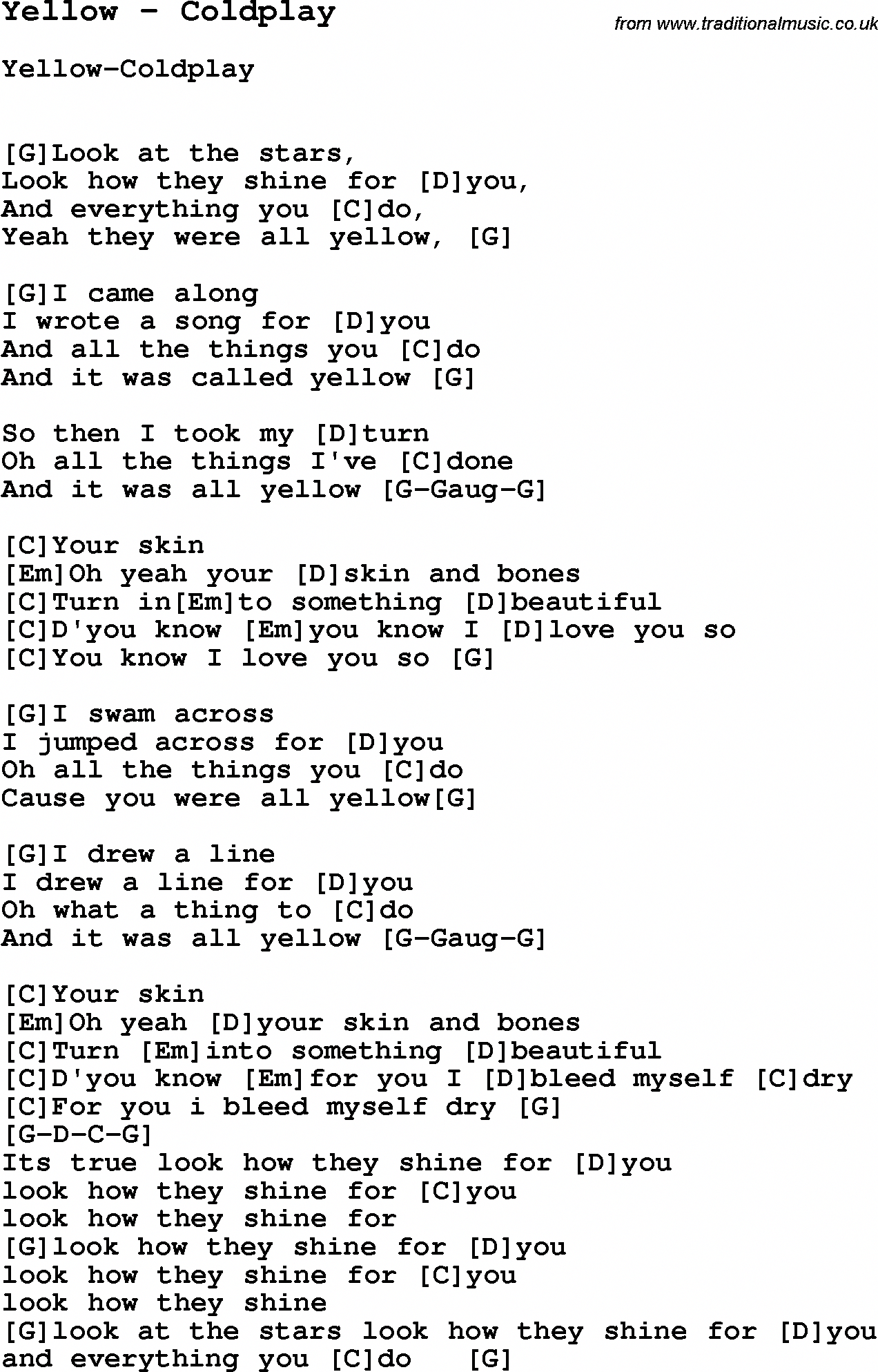 Song Yellow By Coldplay With Lyrics For Vocal Performance And Accompaniment Chords Guitar Chords And Lyrics Ukelele Chords Ukulele Songs Ukulele Chords Songs