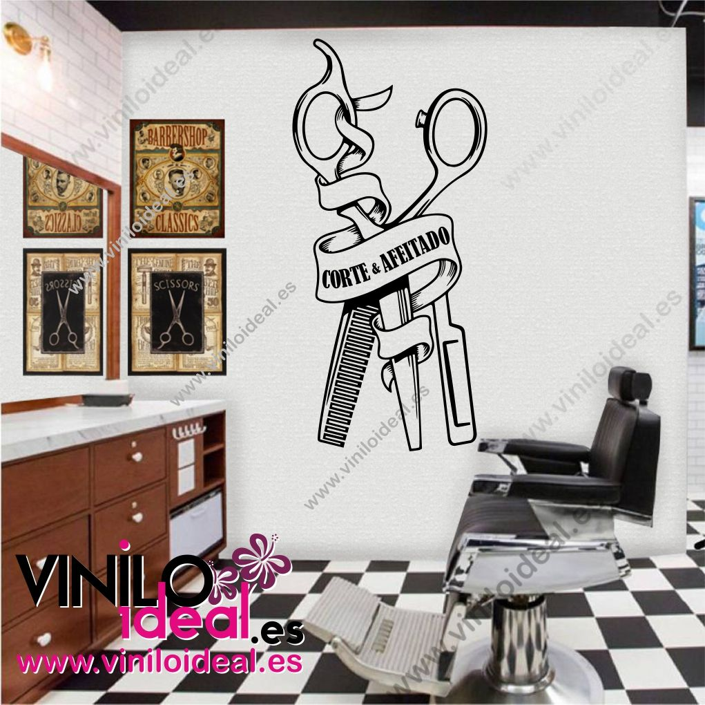 Vinilo decorativo para barber as barber shop decoraci n - Decoracion paredes vinilos adhesivos ...