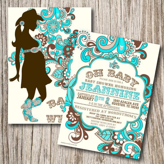Western Baby Shower Invitation, Western Baby Shower, Pregnant Cowgirl