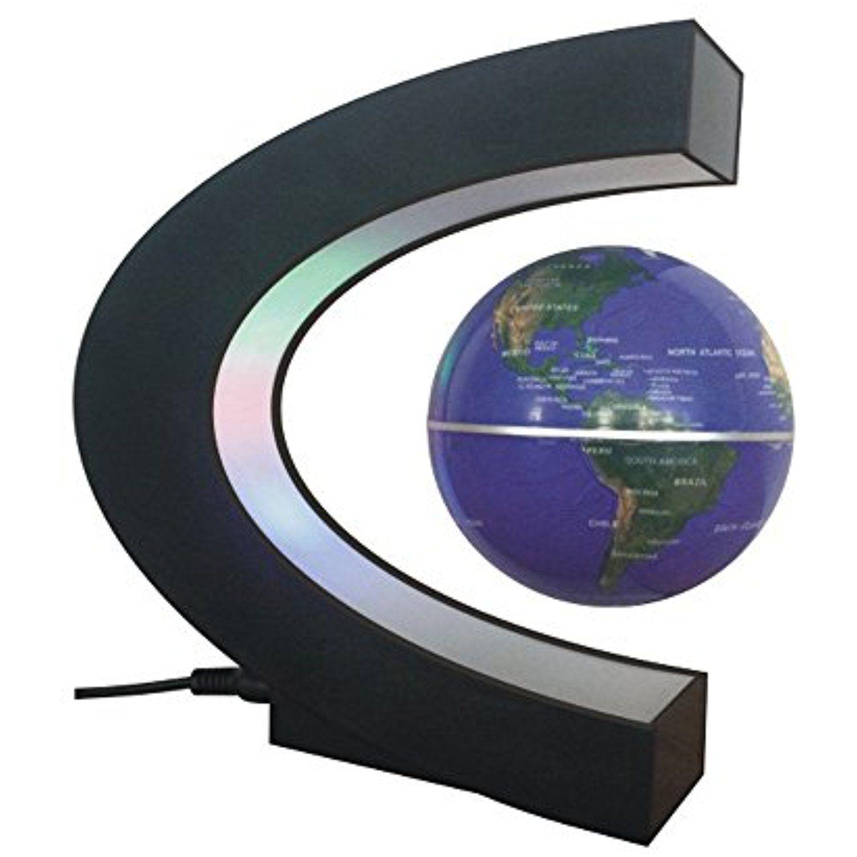 Creative Floating Magnetic Globes//Field Levitation with LED Light Lamp for Home Desktop Decoration C-Shape Magnetic Suspension Globe