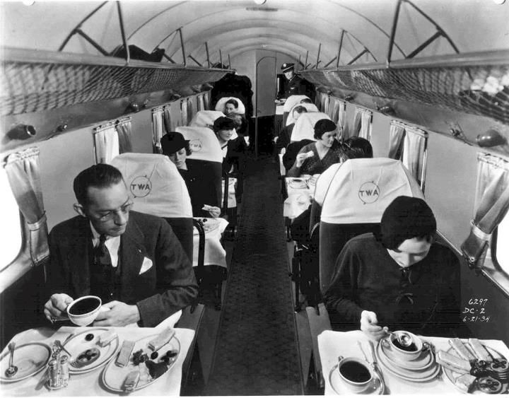 Twa Vintage Photo Of Cabin Meal Service Trans World