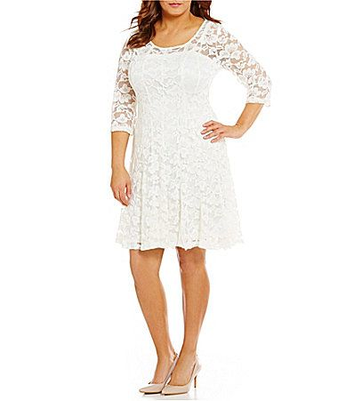 Leslie Fay Plus Floral Lace FitandFlare Dress #Dillards