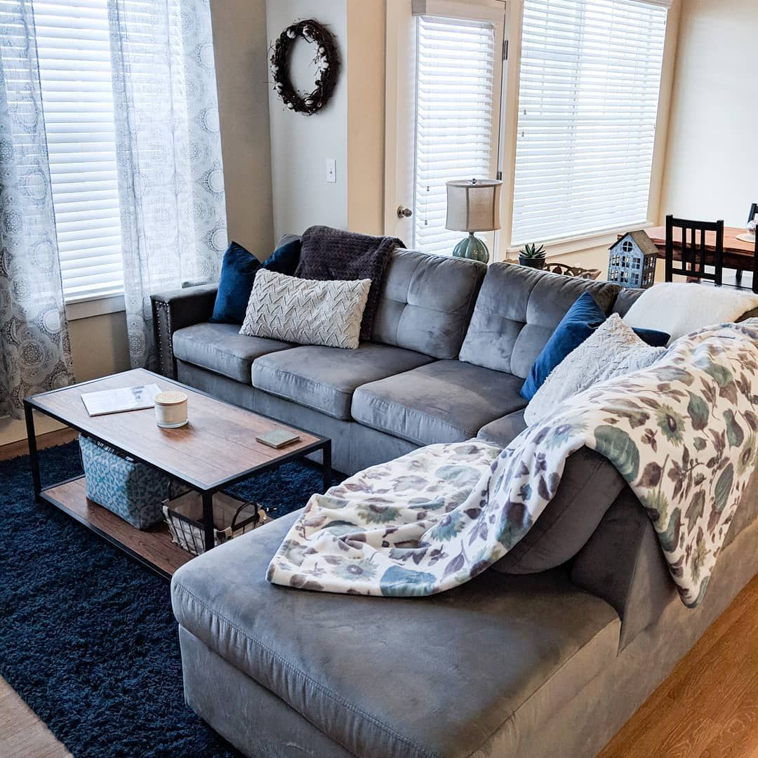 Best My Cozy Living Room With A Comfy Grey Sectional Sofa Blue Area Rug And Wood Table With 400 x 300