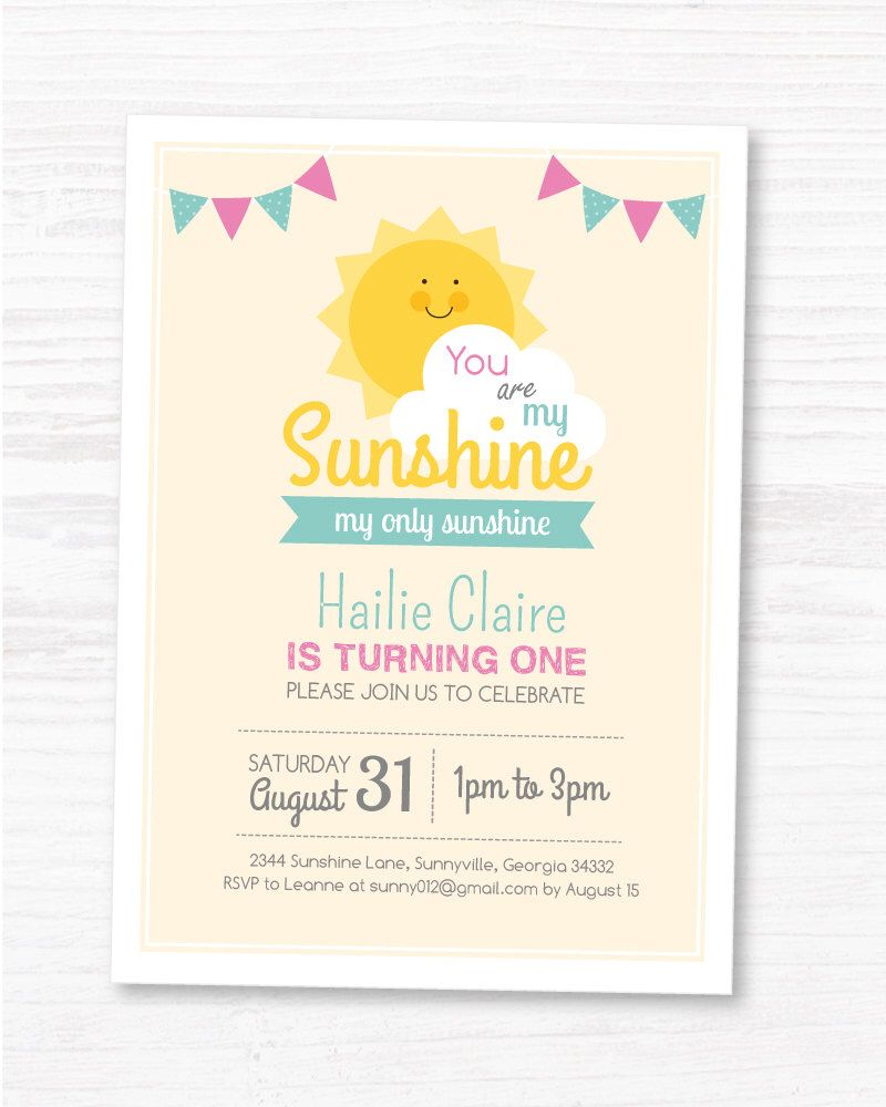 You Are My Sunshine Invite Customized Sunshine By Maydetails Sunshine First Birthday Sunshine Birthday Sunshine Birthday Parties