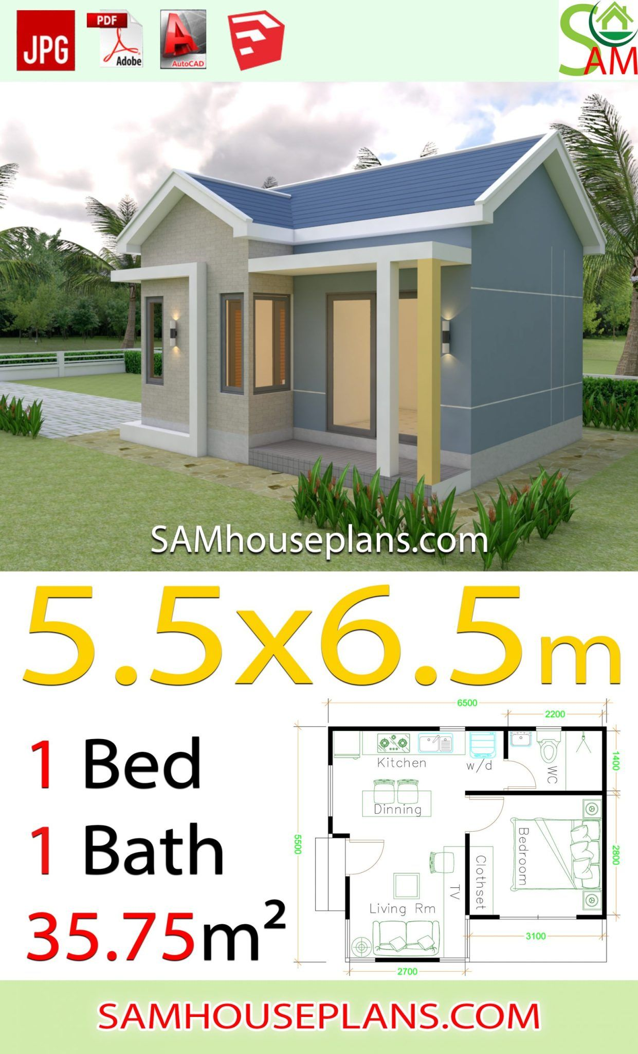 House Design Plans 5 5x6 5 With One Bedroom Gable Roof In 2020 Home Design Plans Gable Roof House Design