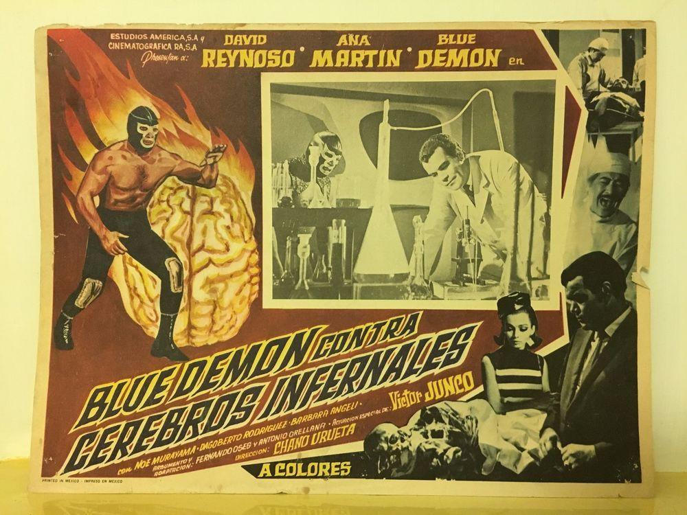 Blue Demon Mexican Wrestler Luchador Luchas Lobby Card Movie