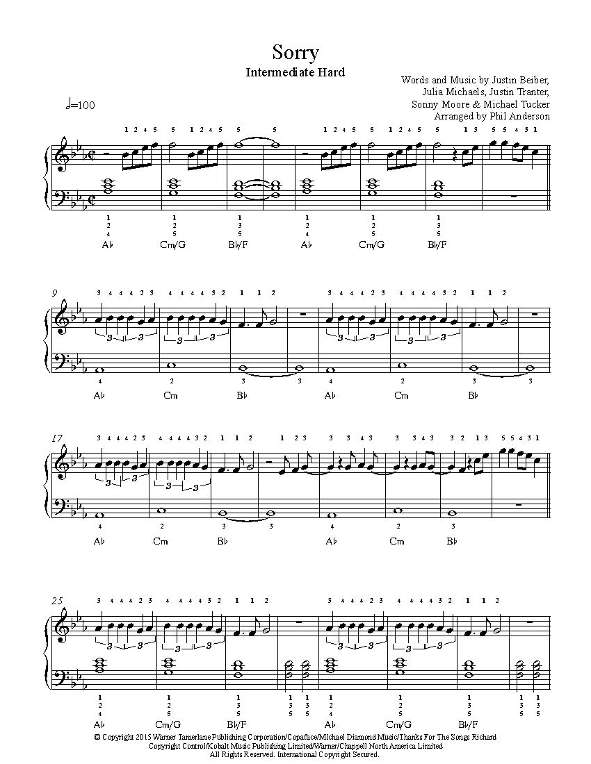 Sorry by Justin Bieber Piano Sheet Music | Intermediate Level ...