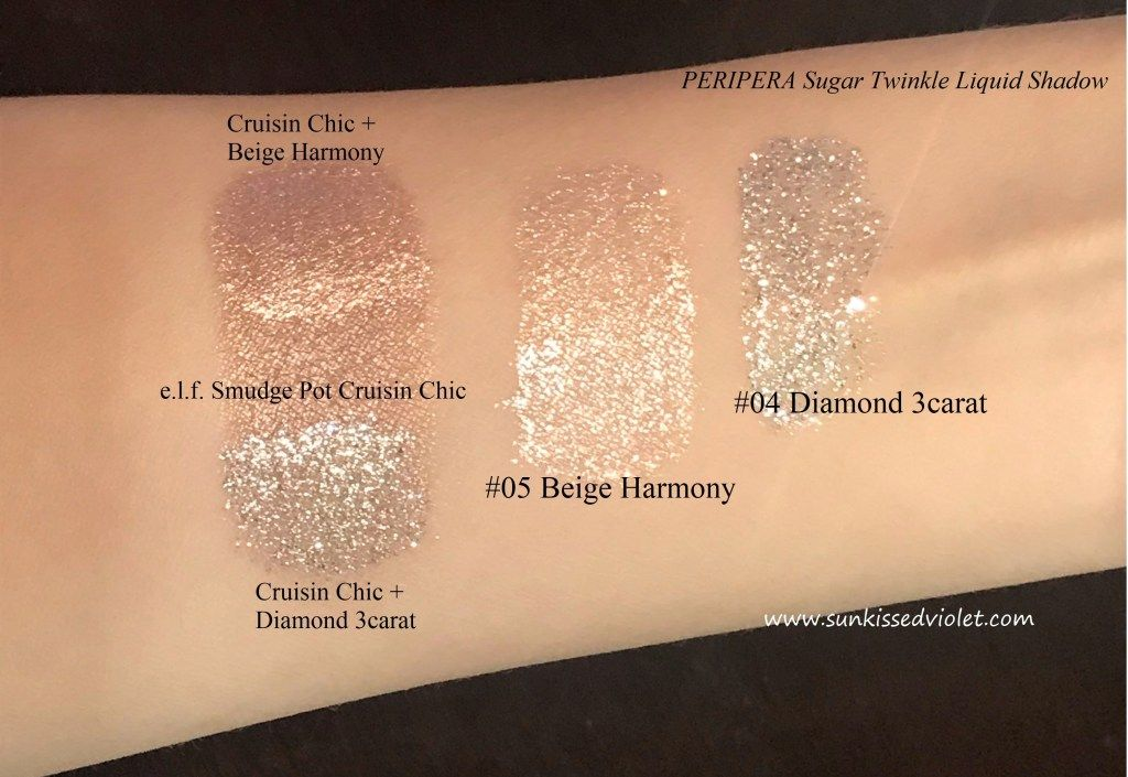 PERIPERA Sugar Twinkle Liquid Shadow Swatches + Review
