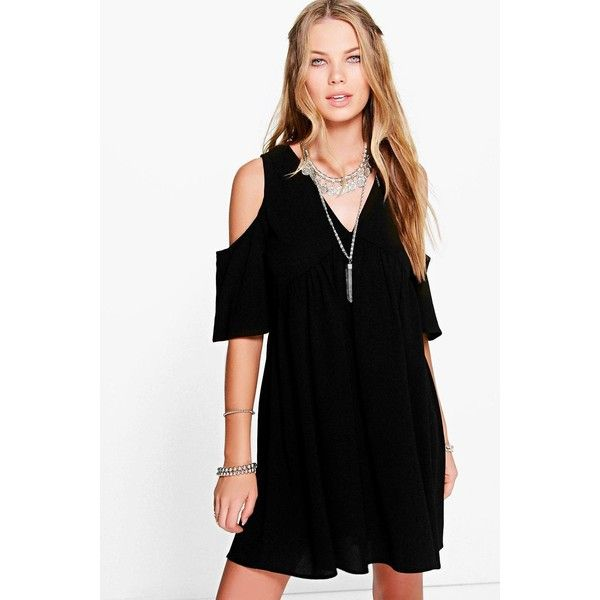 f8bb418594e0b Boohoo Lostrice Cold Shoulder Smock Dress ( 30) ❤ liked on Polyvore  featuring dresses