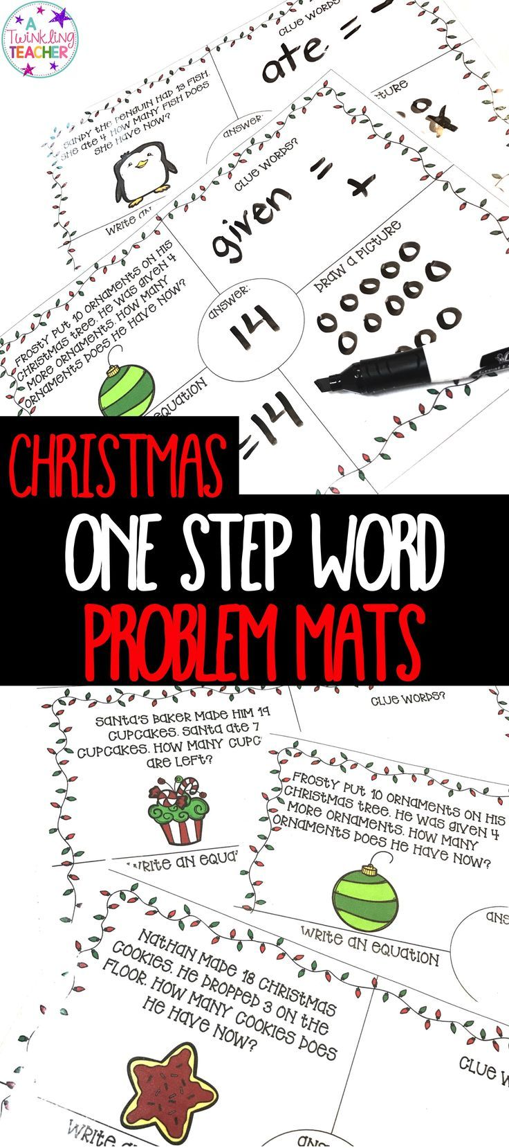 Christmas One Step Word Problems within 20 | Word problems ...