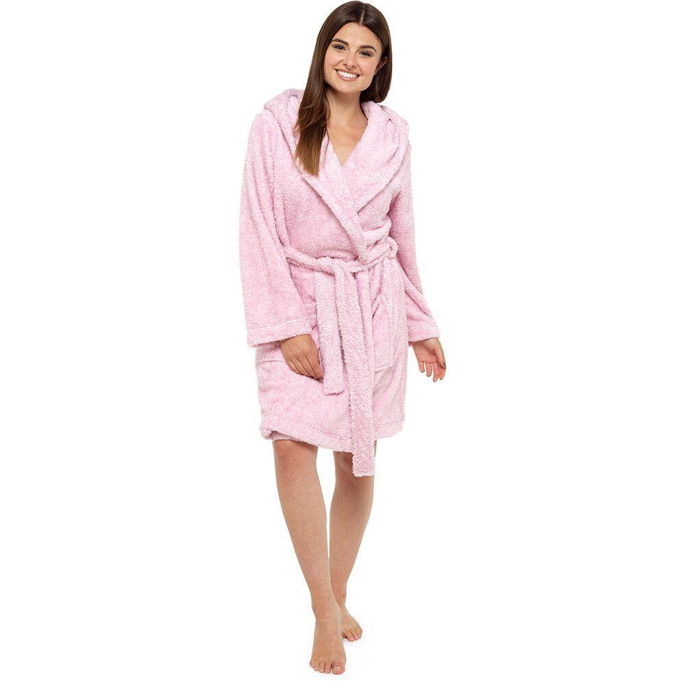 Ladies Shaggy Coral Fleece Animal Hood Bath Robe Pink