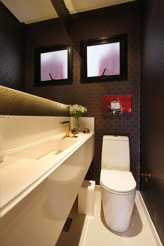 decorao de lavabo papel de parede preto e cobre casa de valentina