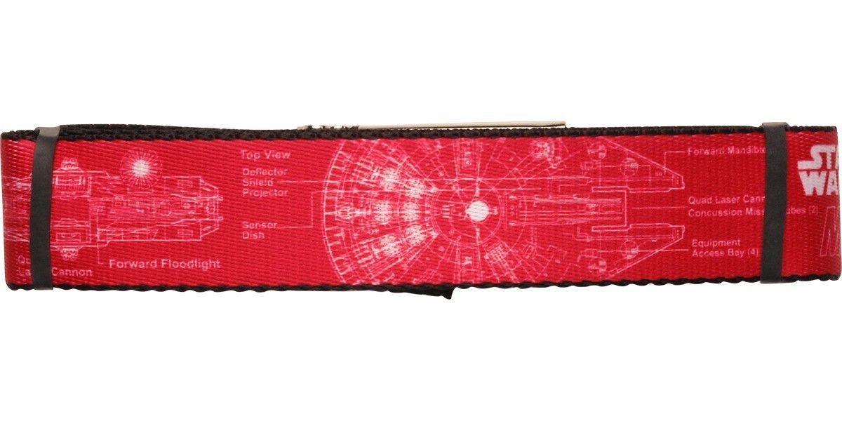 Star Wars Falcon Blueprints Red Wide Mesh Belt