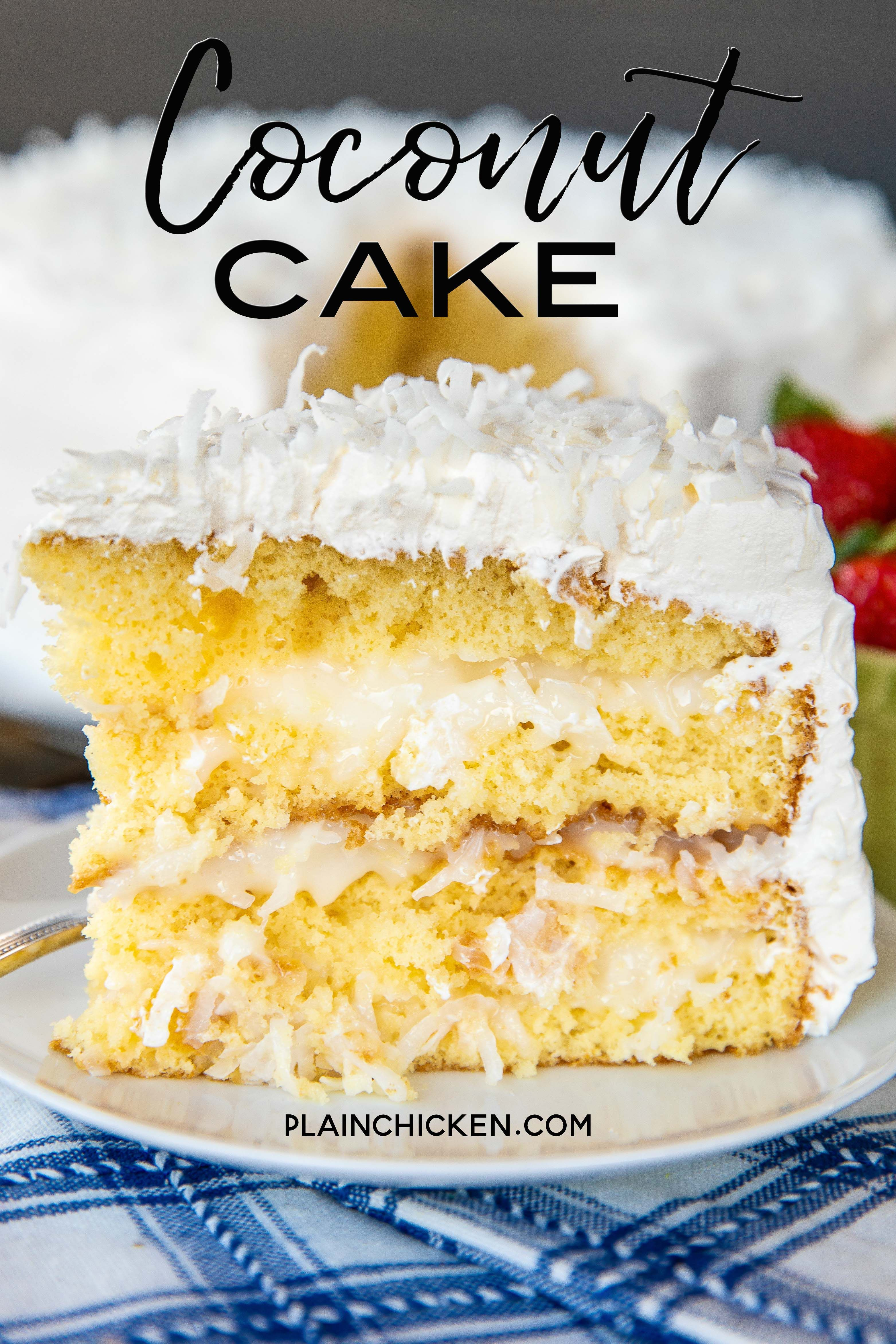 Coconut Cake The Sour Cream Cool Whip Frosting Makes This Cake It Is Amazing So Easy To Coconut Cake Recipe Sour Cream Coconut Cake Dessert Cake Recipes