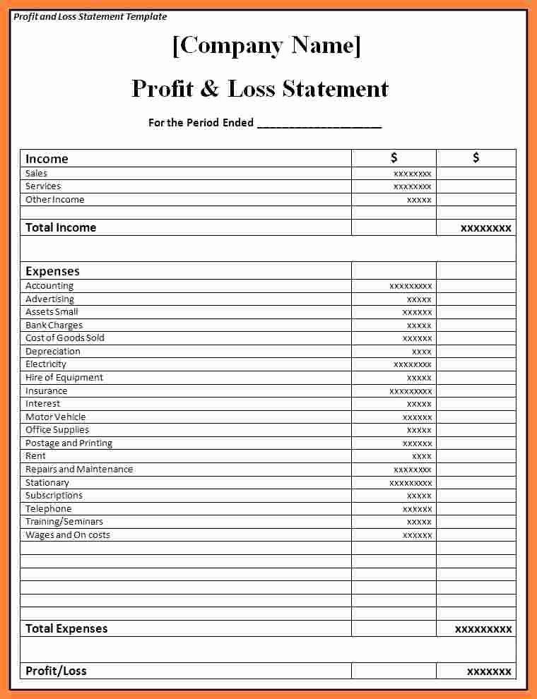 P And L Statement Template Unique 6 P And L Statement Statement Template Profit And Loss Statement Templates
