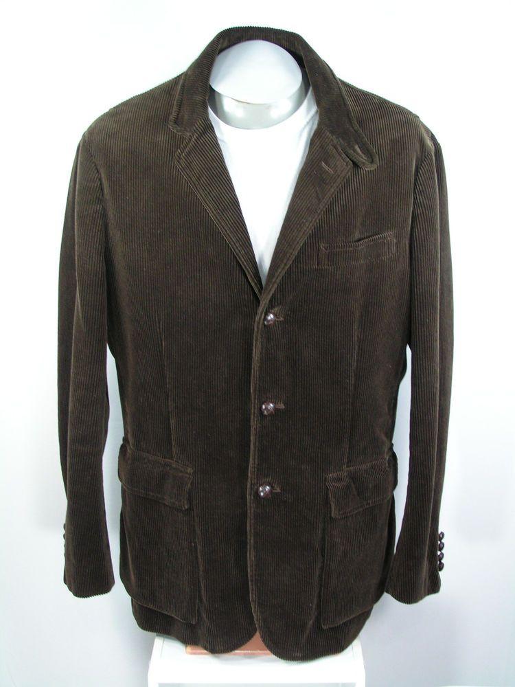 ralph lauren polo sport coat men's large corduroy brown