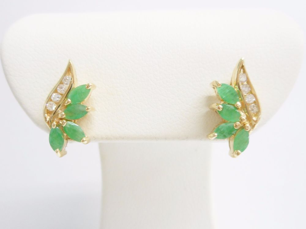 Genuine 14k Yellow Gold Marquise Emerald Diamond Accent Stud Earrings #1936 #Stud Check out this item and more at mmjewelersknoxville on eBay!