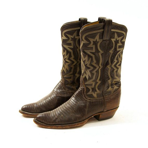 Tony Lama Brown Leather & Reptile Cowboy Boots / by nickiefrye, $72.00
