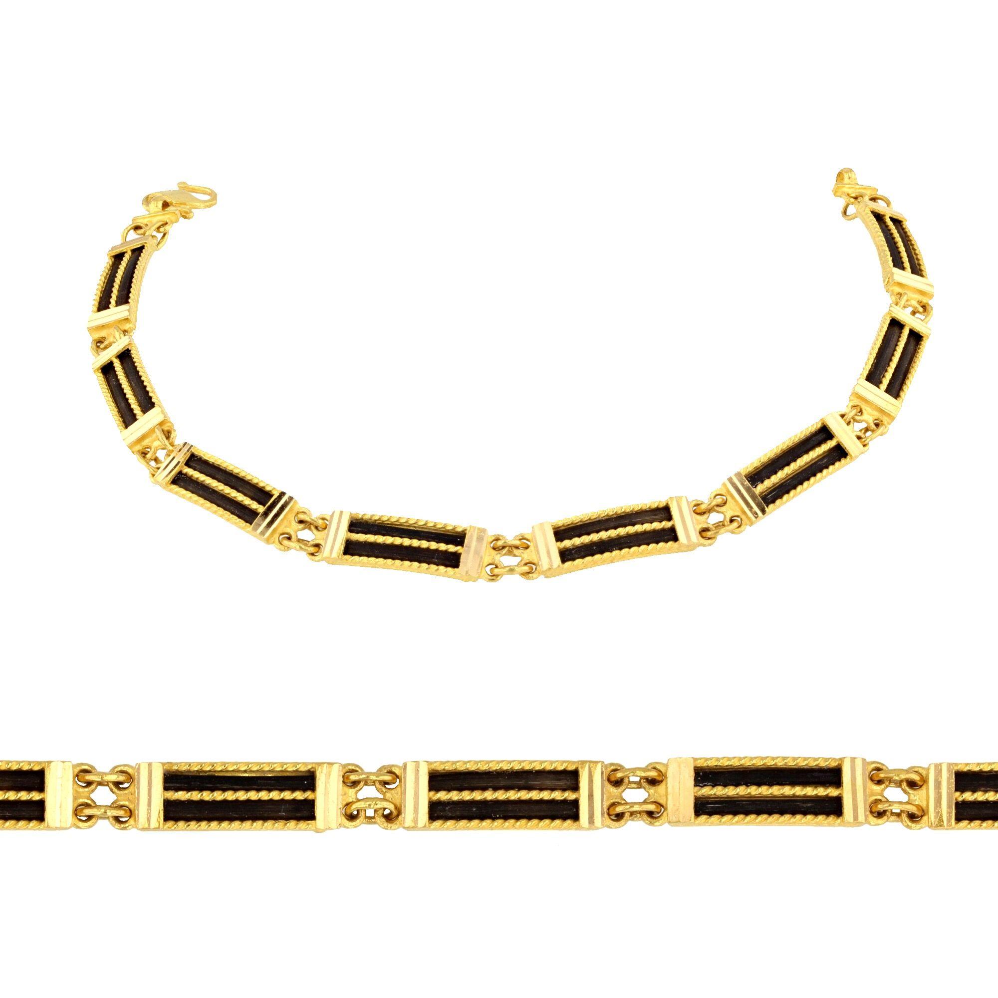 22Carat Yellow Gold and Elephant Hair Unisex Bracelet www ...