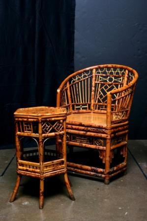 Antique Chinese Spotted Bamboo Chair From The 19th Century