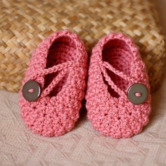 Crochet PATTERN (pdf file) - Pretty in Pink Baby Booties ...