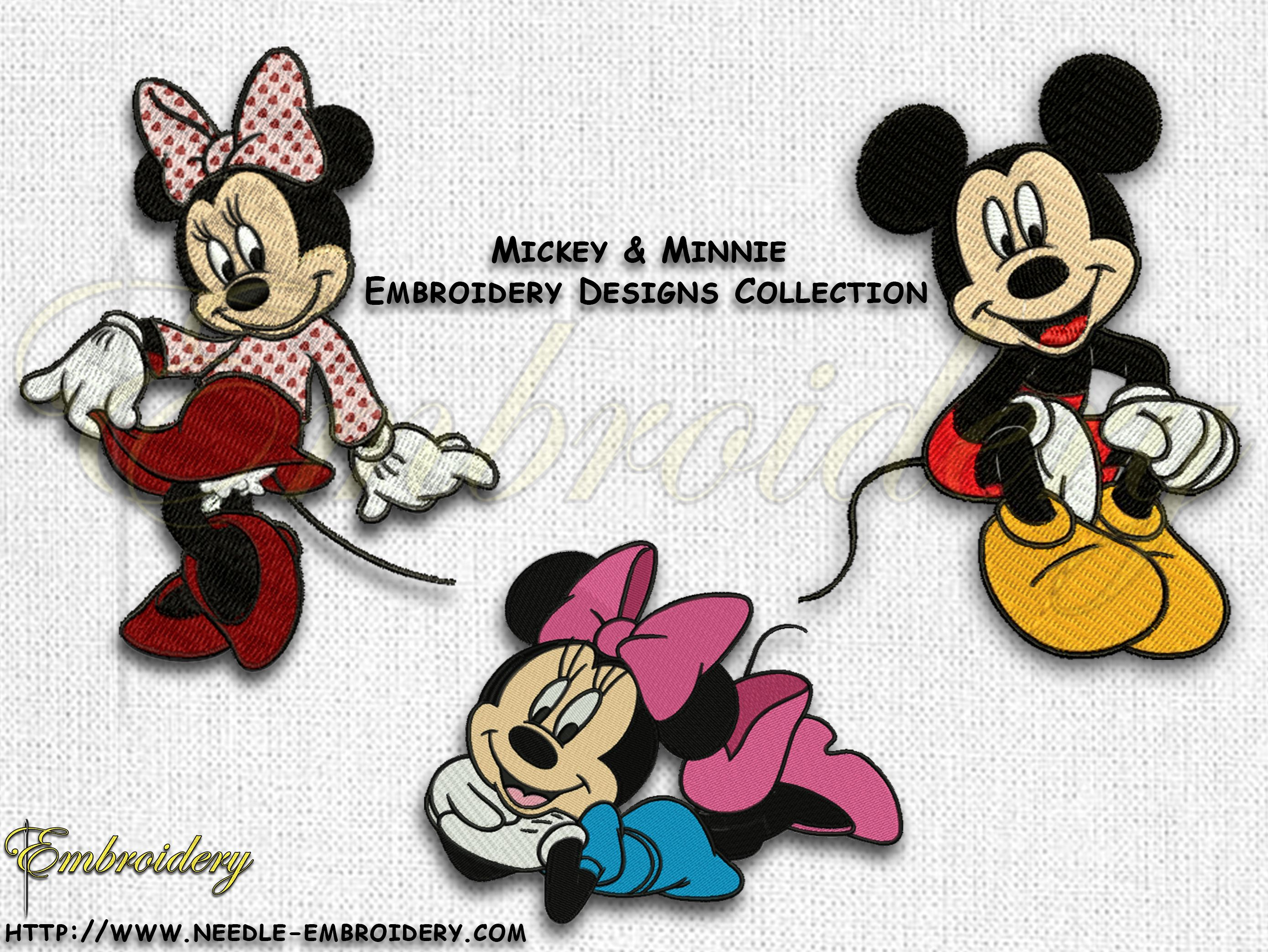 Mickey And Minnie Mouse Embroidery Design Pack
