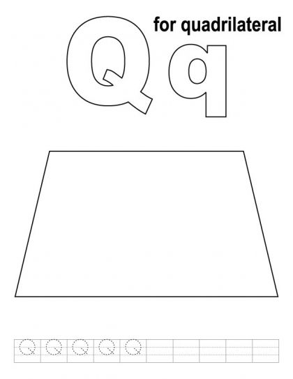 Q For Quadrilateral Coloring Page With Handwriting Practice Kids Handwriting Practice Handwriting Practice Coloring Pages